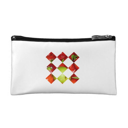 Hot pepper lime diamond tile graphic cosmetic bag