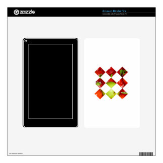 Hot pepper lime diamond tile graphic decal for kindle fire