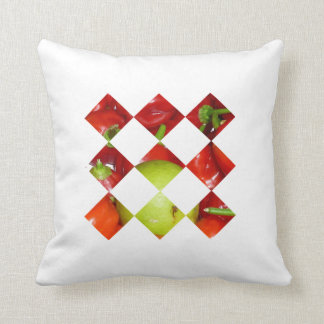 Hot pepper lime diamond tile graphic throw pillow