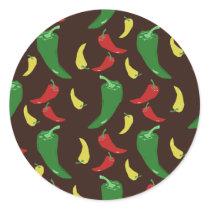 Hot Pepper Pattern Classic Round Sticker
