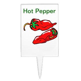 Hot pepper pot pick or garden marker cake toppers