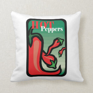 Hot Pepper Text Graphic two chilis Throw Pillow