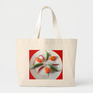 Hot Peppers 2 Large Tote Bag