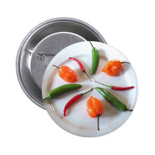 Hot Peppers 3 2 Inch Round Button