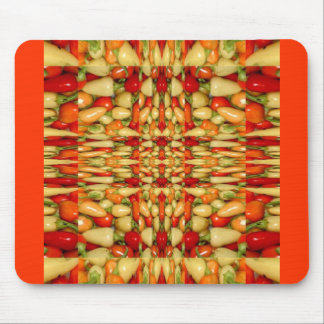 Hot peppers abstract repeat pattern mouse pad