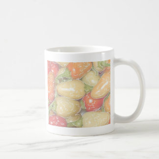 Hot peppers, faded background with tracing coffee mugs