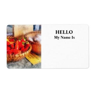 Hot Peppers in Farmers Market Label