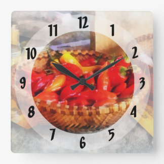 Hot Peppers in Farmers Market Square Wall Clock