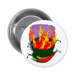 Hot peppers in green cup flames buttons