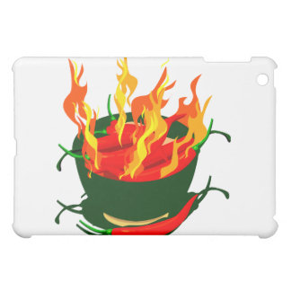 Hot peppers in green cup flames iPad mini cover