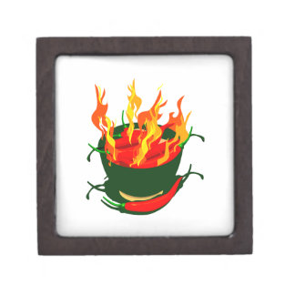 Hot peppers in green cup flames jewelry box