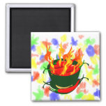 Hot peppers in green cup flames refrigerator magnet