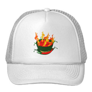 Hot peppers in green cup flames trucker hats