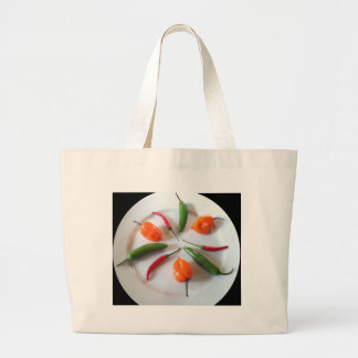 Hot Peppers Large Tote Bag