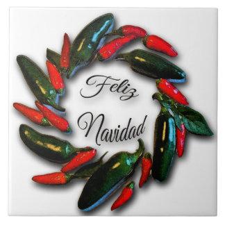 Hot Peppers Red Green Feliz Navidad Wreath Tile