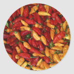 Hot Peppers Round Stickers