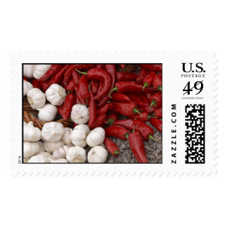 Hot Peppers with Garlic Postage Stamps