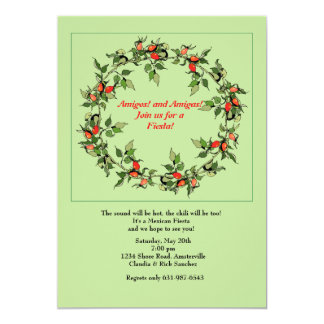 Hot Peppers Wreath Invitation