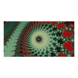 Hot Peppery Spicy Fractal - green and red Card