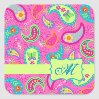 Hot Pin Fuchsia Modern Paisley Pattern Monogram Square Sticker