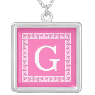 Hot Pink2 Wht Greek Key Frame #1 Initial Monogram Square Pendant Necklace