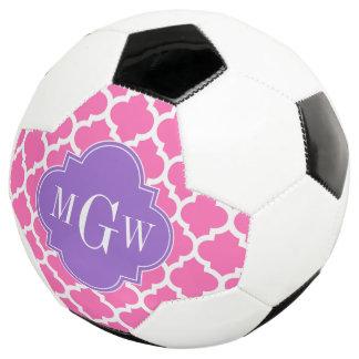 Hot Pink2 Wht Moroccan #5 Amethyst 3 Init Monogram Soccer Ball