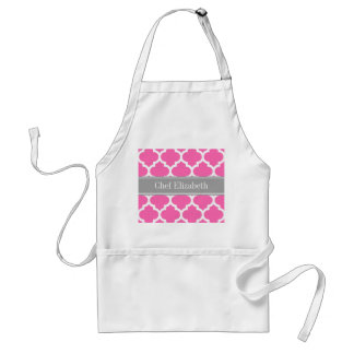 Hot Pink2 Wht Moroccan #5 Dark Gray Name Monogram Adult Apron