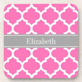 Hot Pink2 Wht Moroccan #5 Dark Gray Name Monogram Beverage Coaster