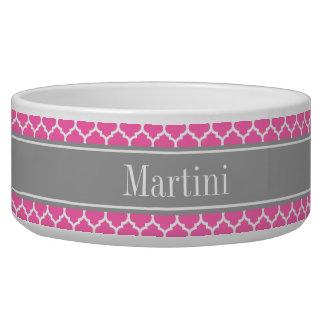 Hot Pink2 Wht Moroccan #5 Dark Gray Name Monogram Bowl