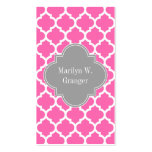 Hot Pink2 Wht Moroccan #5 Dark Gray Name Monogram Double-Sided Standard Business Cards (Pack Of 100)