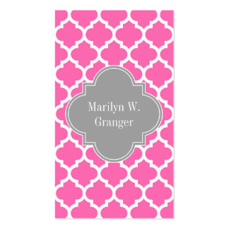 Hot Pink2 Wht Moroccan #5 Dark Gray Name Monogram Business Card Template