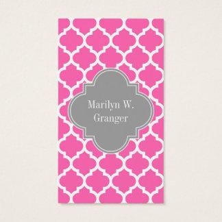 Hot Pink2 Wht Moroccan #5 Dark Gray Name Monogram Business Card