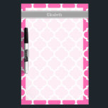 """Hot Pink2 Wht Moroccan #5 Dark Gray Name Monogram Dry-Erase Board<br><div class=""""desc"""">Hot Pink #2 and White Moroccan Quatrefoil Trellis Pattern #5, Dark Gray Ribbon Name Monogram Label Customize this with your name, monogram or other text. You can also change the font, adjust the font size and font color, move the text, add additional text fields, etc Please note that this is...</div>"""