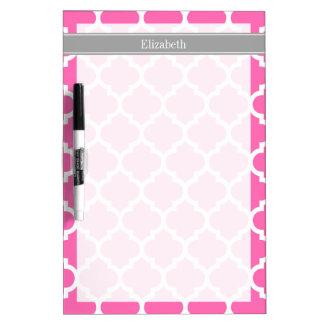 Hot Pink2 Wht Moroccan #5 Dark Gray Name Monogram Dry-Erase Board