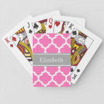 """Hot Pink2 Wht Moroccan #5 Dark Gray Name Monogram Playing Cards<br><div class=""""desc"""">Hot Pink #2 and White Moroccan Quatrefoil Trellis Pattern #5, Dark Gray Ribbon Name Monogram Label Customize this with your name, monogram or other text. You can also change the font, adjust the font size and font color, move the text, add additional text fields, etc Please note that this is...</div>"""