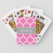 Hot Pink2 Wht Moroccan #5 Dark Gray Name Monogram Playing Cards