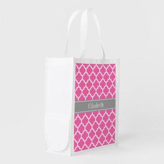 Hot Pink2 Wht Moroccan #5 Dark Gray Name Monogram Reusable Grocery Bag