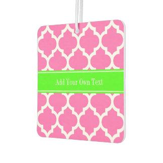 Hot Pink2 Wht Moroccan #5 Lime Green Name Monogram Air Freshener