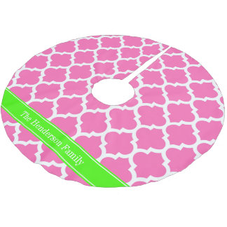 Hot Pink2 Wht Moroccan #5 Lime Green Name Monogram Brushed Polyester Tree Skirt