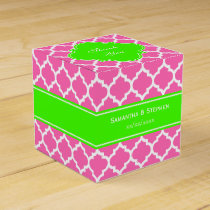 Hot Pink2 Wht Moroccan #5 Lime Green Name Monogram Favor Box