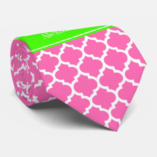 Hot Pink2 Wht Moroccan #5 Lime Green Name Monogram Neck Tie