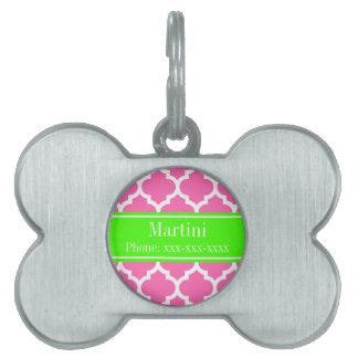 Hot Pink2 Wht Moroccan #5 Lime Green Name Monogram Pet Name Tag