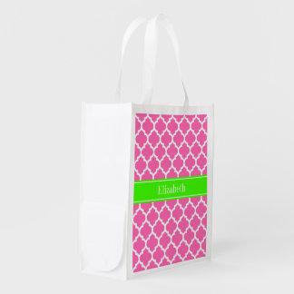 Hot Pink2 Wht Moroccan #5 Lime Green Name Monogram Reusable Grocery Bag