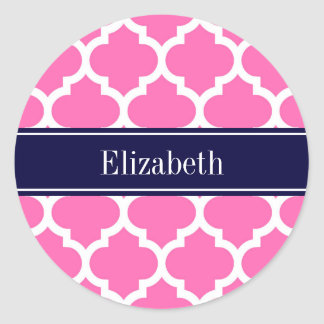 Hot Pink2 Wht Moroccan #5 Navy Blue Name Monogram Classic Round Sticker