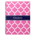 Hot Pink2 Wht Moroccan #5 Navy Blue Name Monogram Note Book