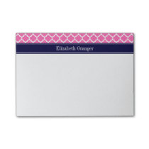 Hot Pink2 Wht Moroccan #5 Navy Blue Name Monogram Post-it Notes