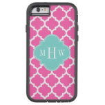 Hot Pink2 Wht Moroccan #5 Turquoise Name Monogram iPhone 6 Case