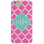 Hot Pink2 Wht Moroccan #5 Turquoise Name Monogram Barely There iPhone 6 Plus Case