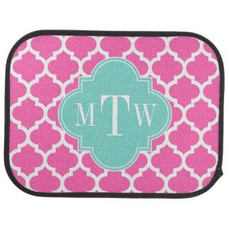 Hot Pink2 Wt Moroccan #5 Turquoise 3 Init Monogram Car Mat
