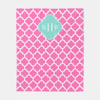 Hot Pink2 Wt Moroccan #5 Turquoise 3 Init Monogram Fleece Blanket